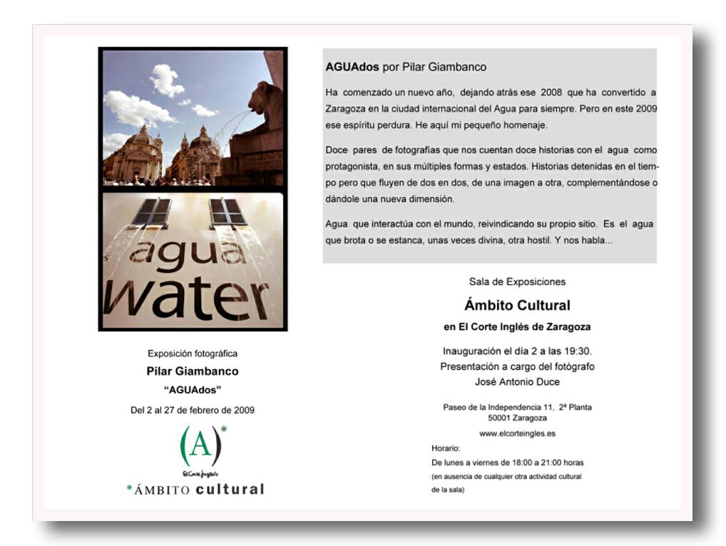 Exposición fotográfica. Pilar Giambanco. AGUAdos.